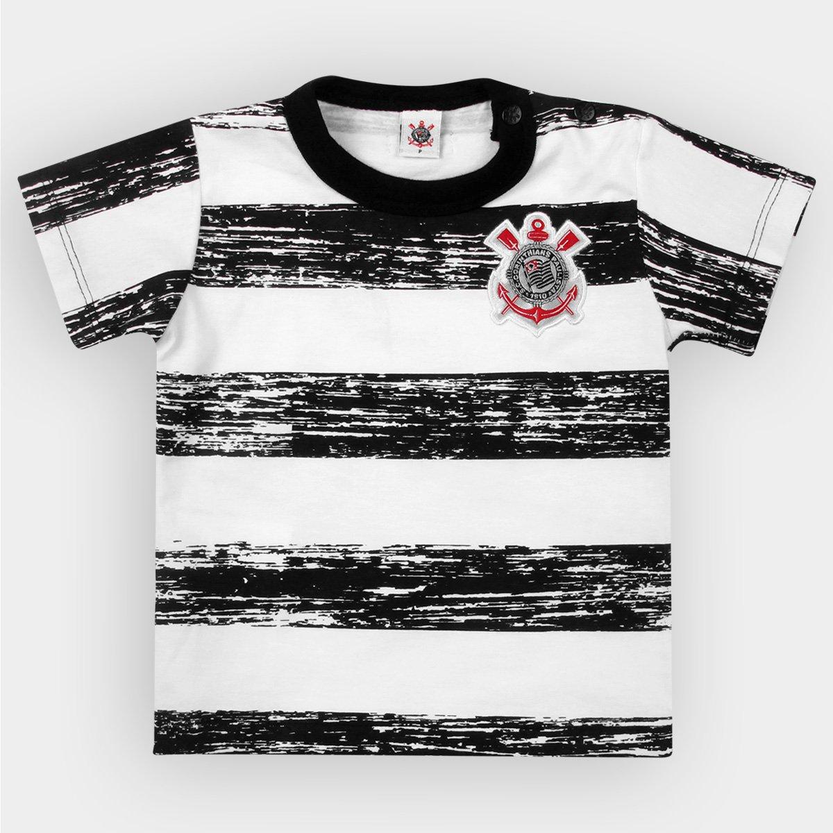 4de361fae2b13 Camiseta Corinthians Bebê Listras Craqueladas - Preto e Branco - Compre  Agora