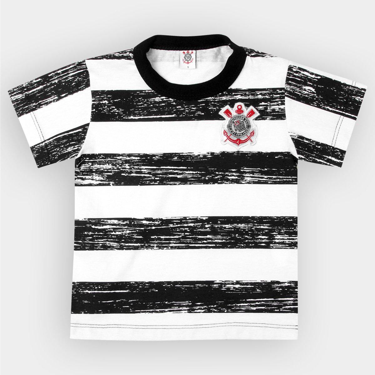 71e659903d73b Camiseta Corinthians Infantil Listras Craqueladas - Preto e Branco - Compre  Agora