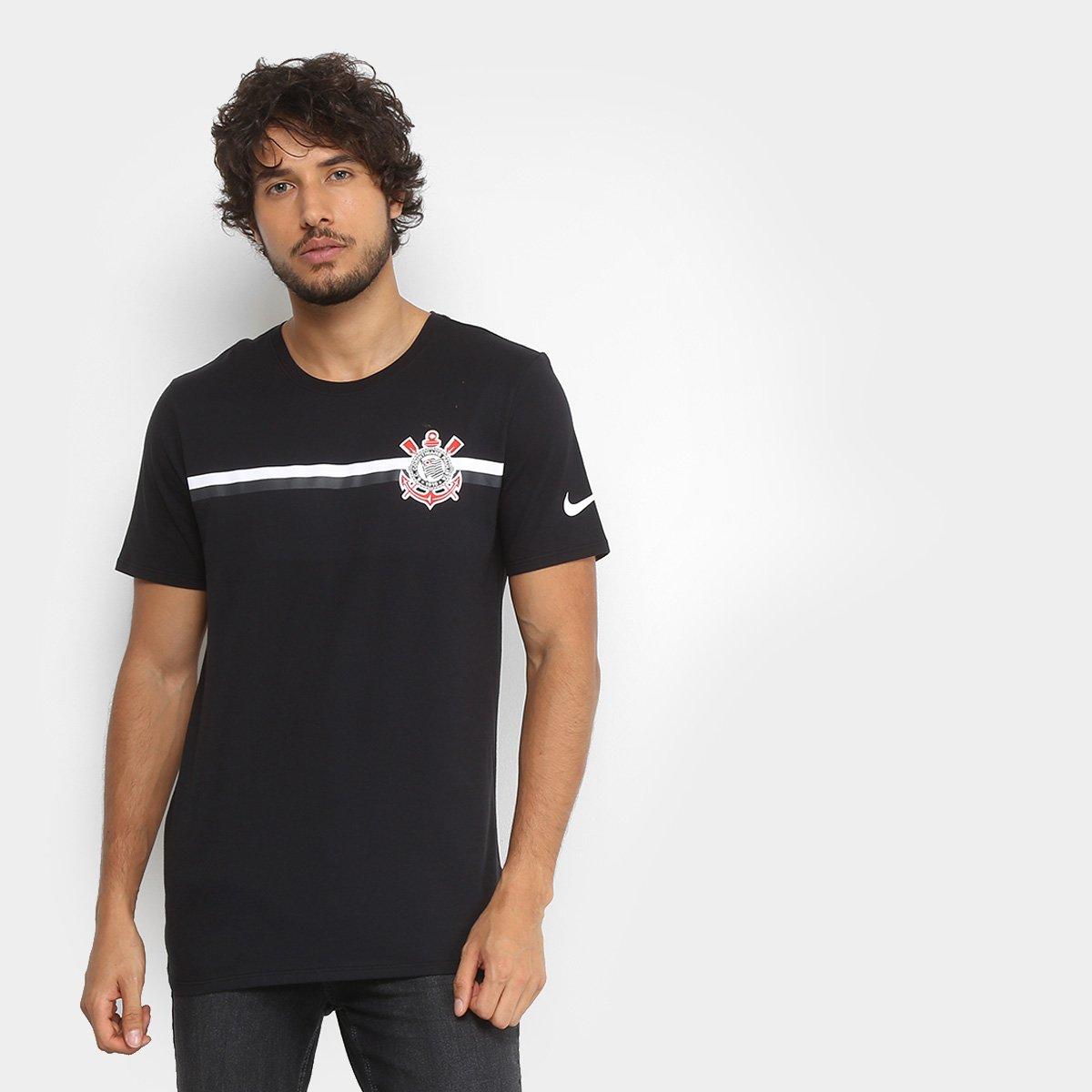 Camiseta Corinthians Nike Crest Masculina - Preto - Compre Agora ... ee6bceb3ae21f