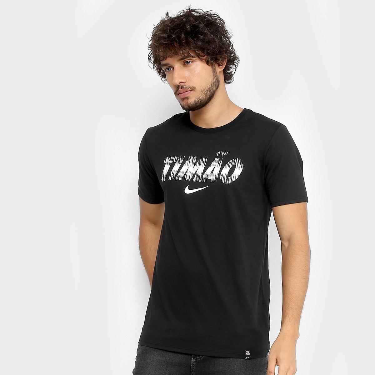 Camiseta Corinthians Nike Dry Masculina - Preto - Compre Agora ... 30c223e07c579