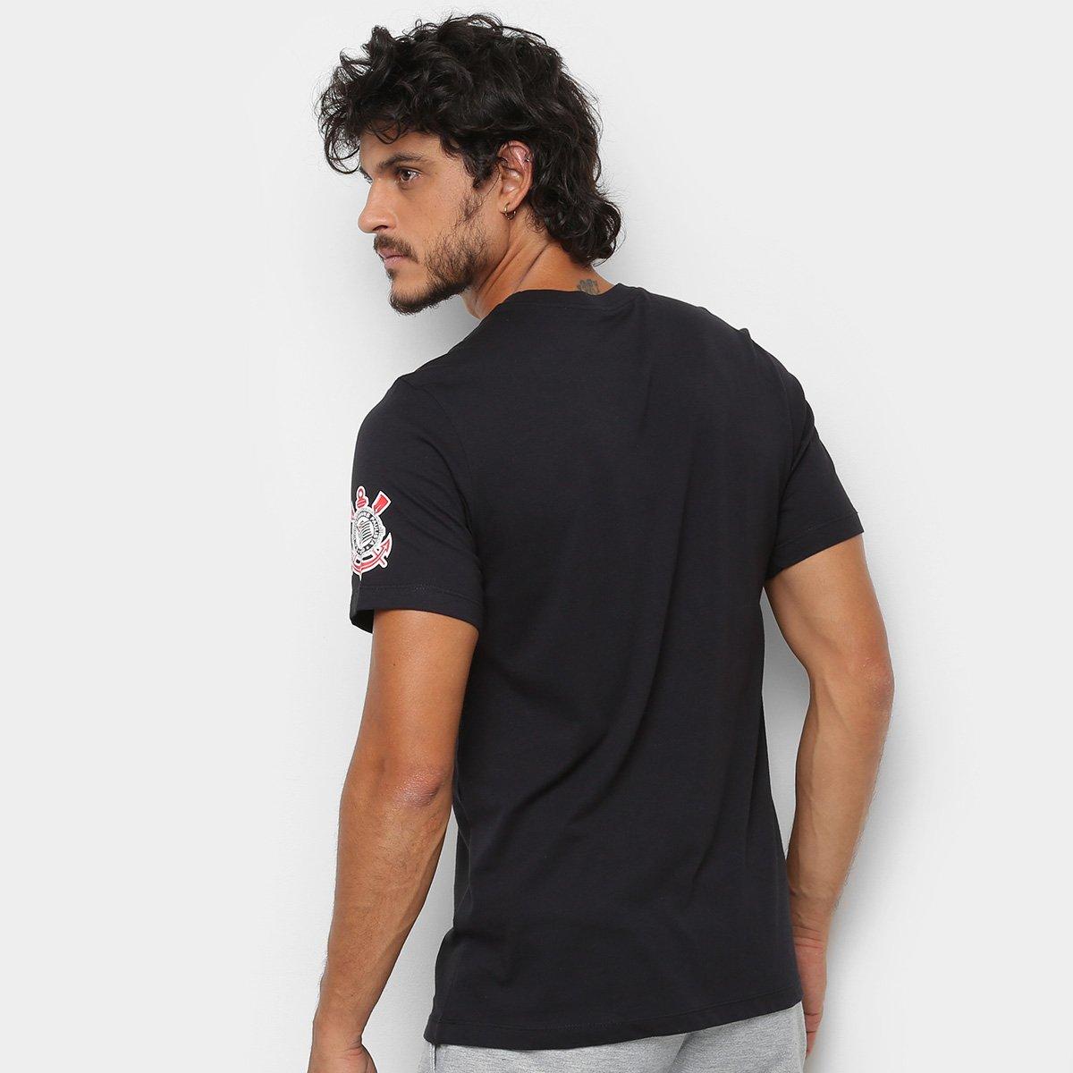 7c4f759fe8 Camiseta Corinthians Nike Large Swoosh Masculina - Preto - Compre ...