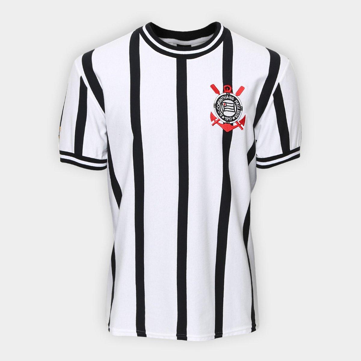 Camiseta Corinthians Réplica 1971 Masculina - Branco e Preto ... 6512f5e1e5557