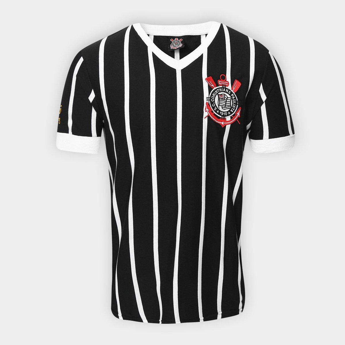 Camiseta Corinthians Réplica 1983 Masculina - Preto e Branco ... ffe5bae1a7539