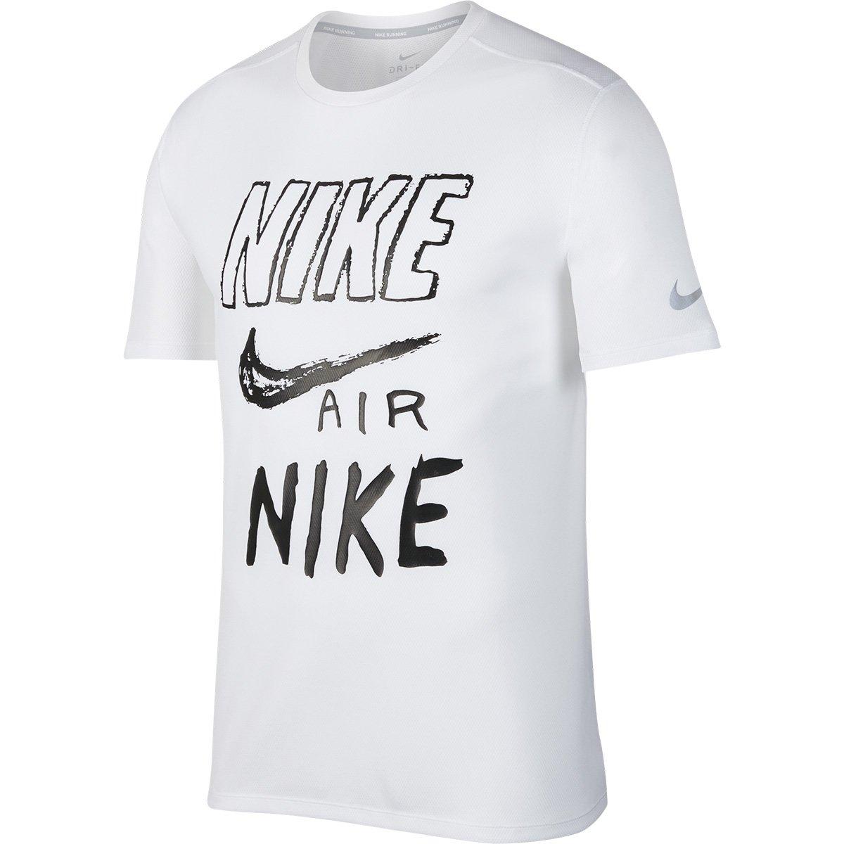 973c05041e Camiseta Nike DRI-FIT Breathe Run Masculina - Branco e Preto | Shop Timão