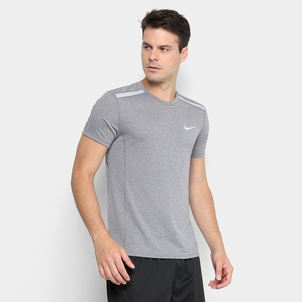 dacb03a2b702d Camiseta Nike Dry Cool Miler SS Masculina - Cinza - Compre Agora ...