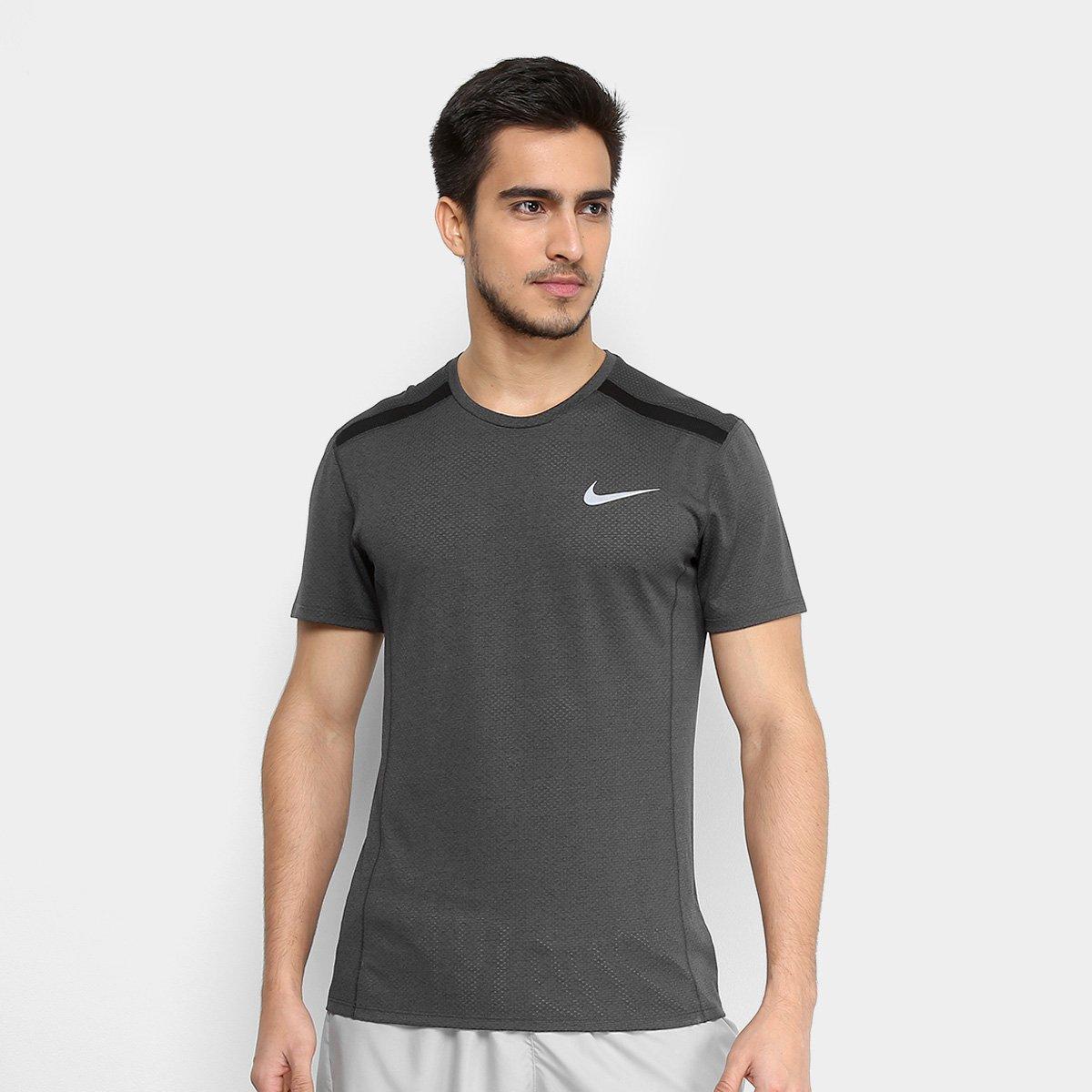 e19fcd3edd273 Camiseta Nike Dry Cool Miler SS Masculina - Cinza e Preto - Compre Agora