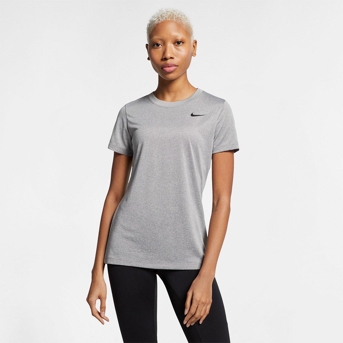 a1b729cd8a8d5 Camiseta Nike Dry Leg Tee Crew Feminina - Cinza - Compre Agora ...