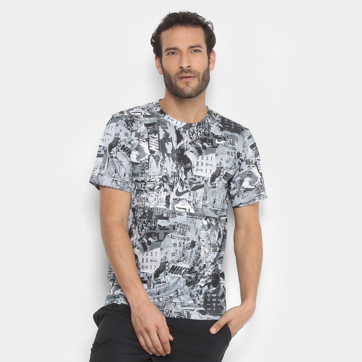 4b3479d0d438e Camiseta Nike Dry Masculina - Branco e Preto - Compre Agora