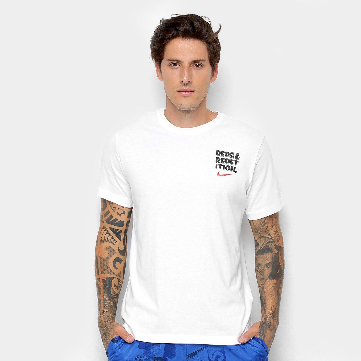 57a90f4b2dcf7 Camiseta Nike Dry Reps Masculina - Branco e Preto - Compre Agora ...