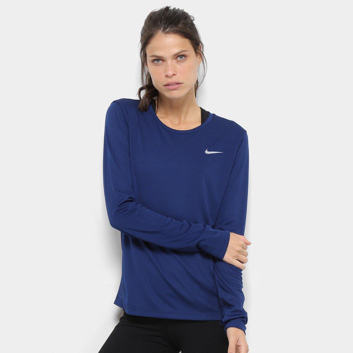260d3b5574159 Camiseta Nike Miler Manga Longa - Azul - Compre Agora