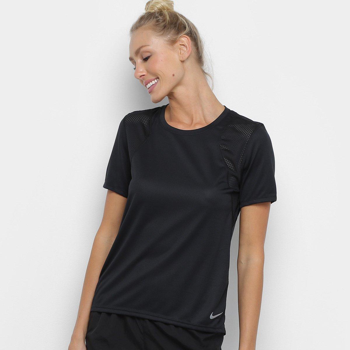 de884617124ec Camiseta Nike Run Ss Feminina - Preto - Compre Agora