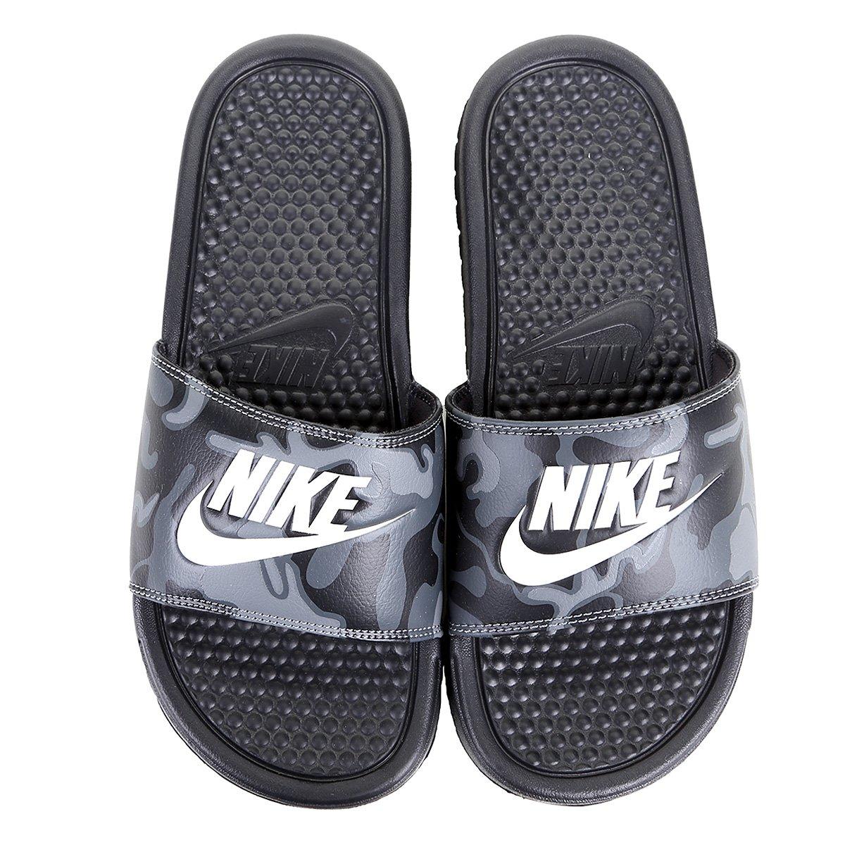 34f78315d52e5 Chinelo Nike Benassi Jdi Print Masculino - Branco e Preto | Shop Timão