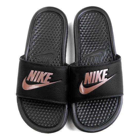 Chinelo Nike Benassi JDI Slide Feminino - Preto+Pink