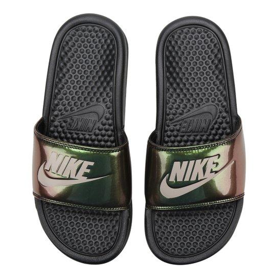 Chinelo Slide Nike Benassi Jdi Print Feminino - Preto