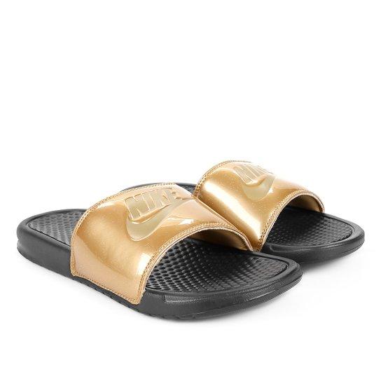 Chinelo Slide Nike Benassi Jdi Print Feminino - Preto+Amarelo