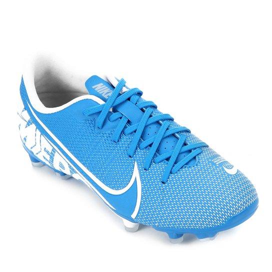 Chuteira Campo Infantil Nike Mercurial Vapor 13 Academy FG - Azul+Branco