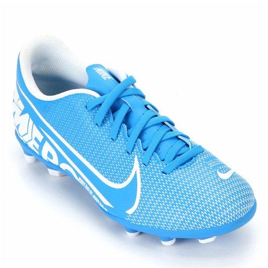 Chuteira Campo Infantil Nike Mercurial Vapor 13 Club FG - Azul+Branco