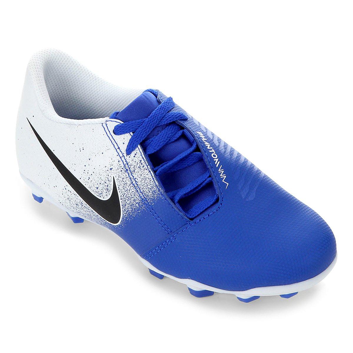 d97e96e394 Chuteira Campo Infantil Nike Phantom Venom Club FG - Branco e Azul ...