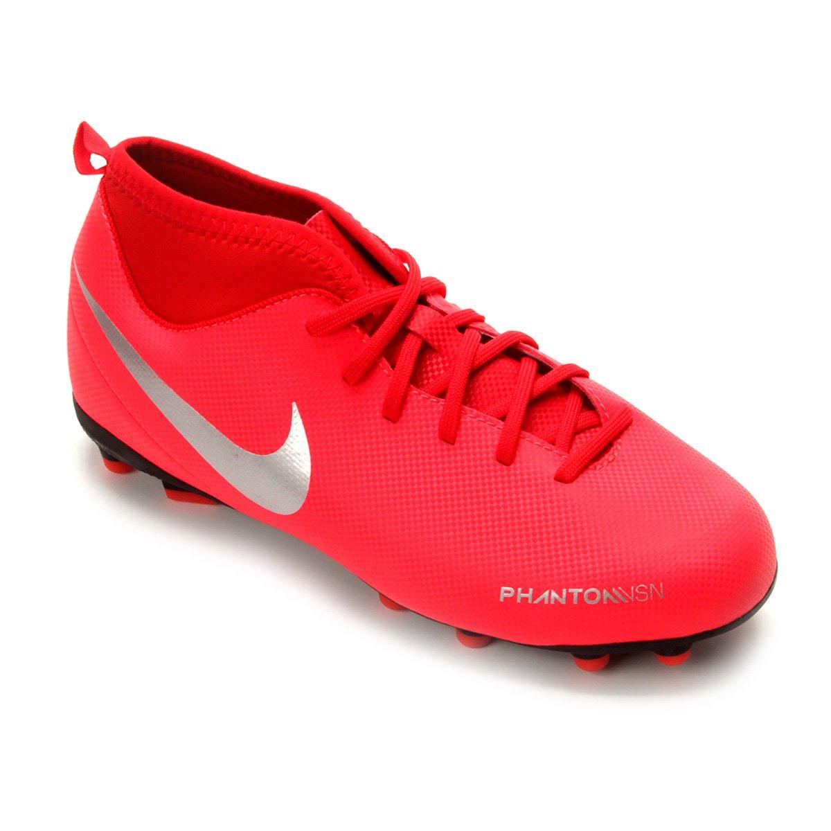 79f4d3d1f1 Chuteira Campo Infantil Nike Phantom Vision Club DF FG - Vermelho e Prata