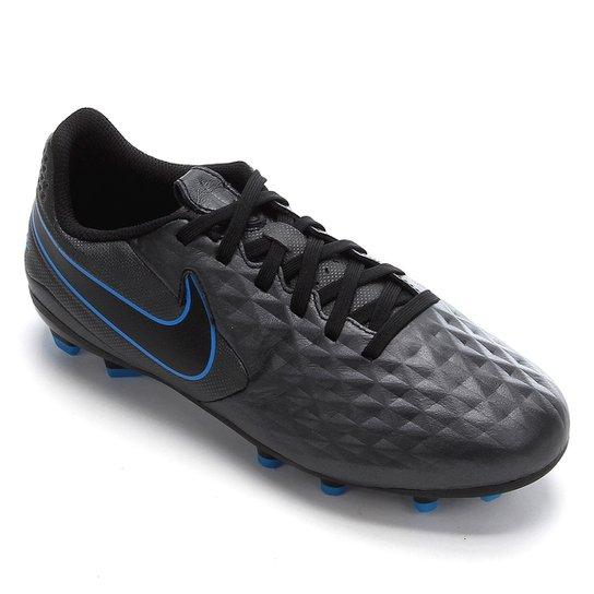 Chuteira Campo Juvenil Nike Tiempo Legend 8 Academy FG/MG - Preto+Azul
