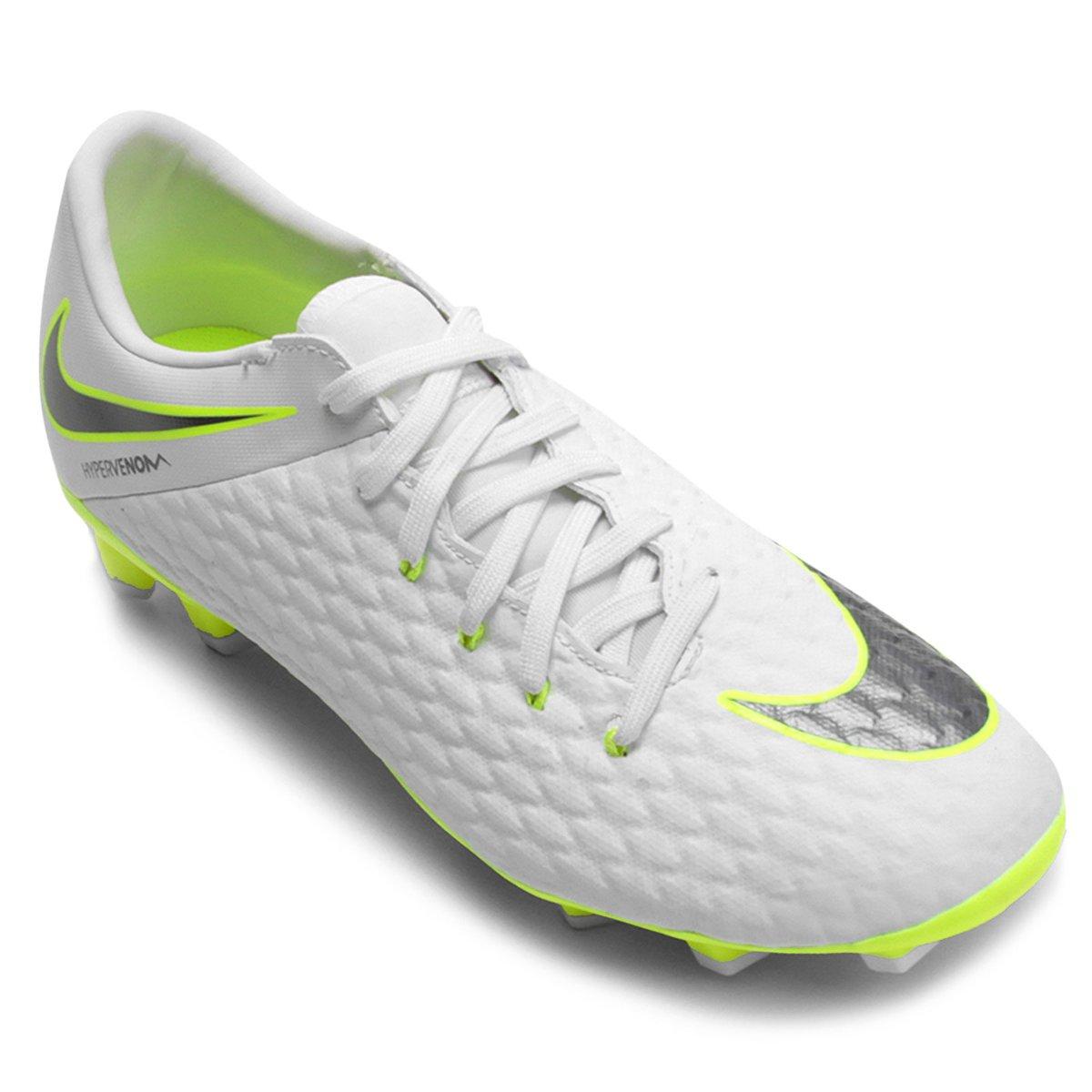 Chuteira Campo Nike Hypervenom Phantom 3 Academy FG - Branco e Cinza ... 7f83f90d93142
