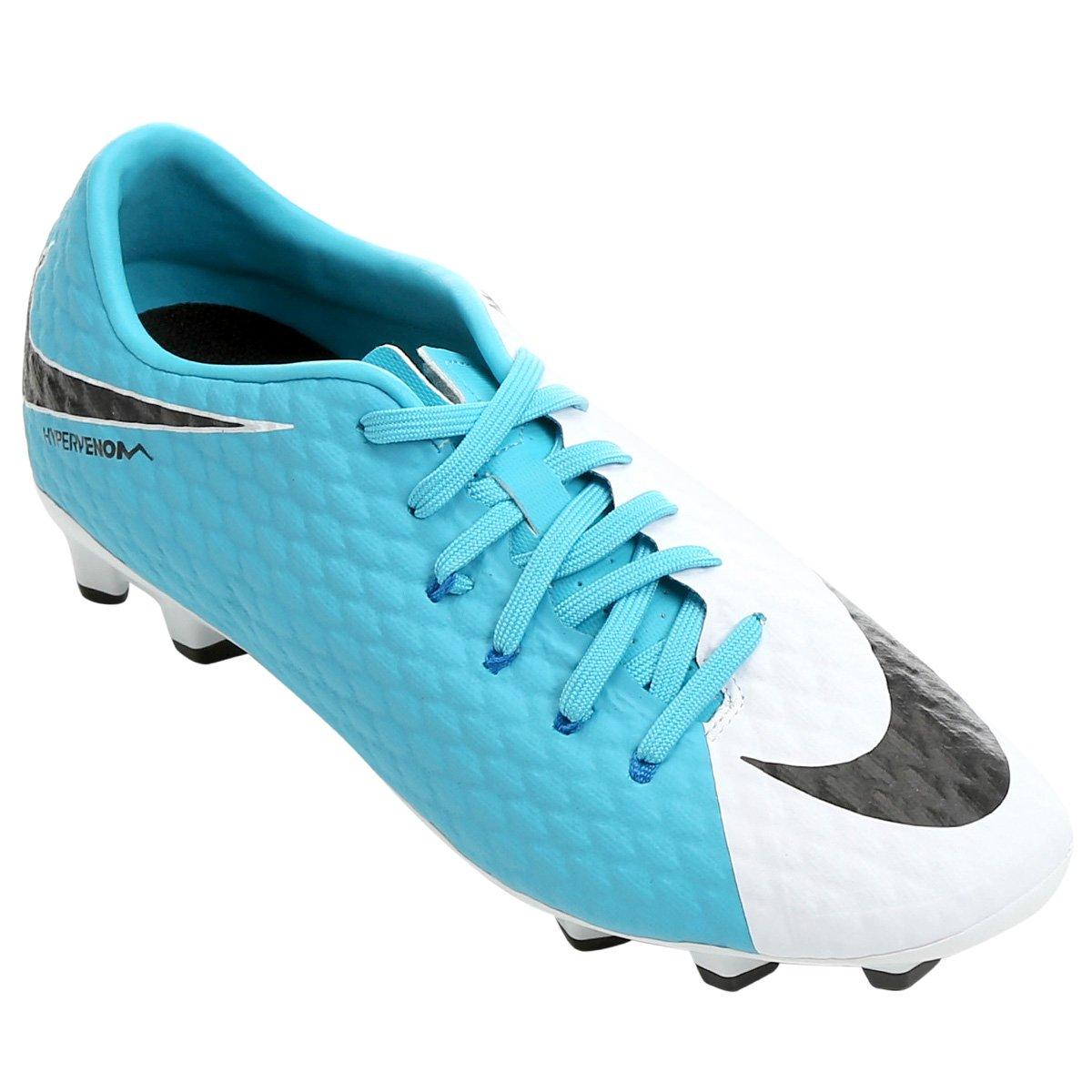 Chuteira Campo Nike Hypervenom Phelon 3 FG - Branco e Azul - Compre ... d0688020a2936