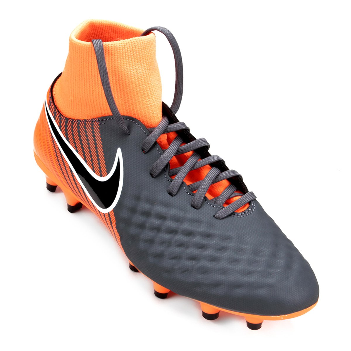 ... in stock Chuteira Campo Nike Magista Obra 2 Academy DF FG Masculina -  Cinza+Preto ... 4127ade219653