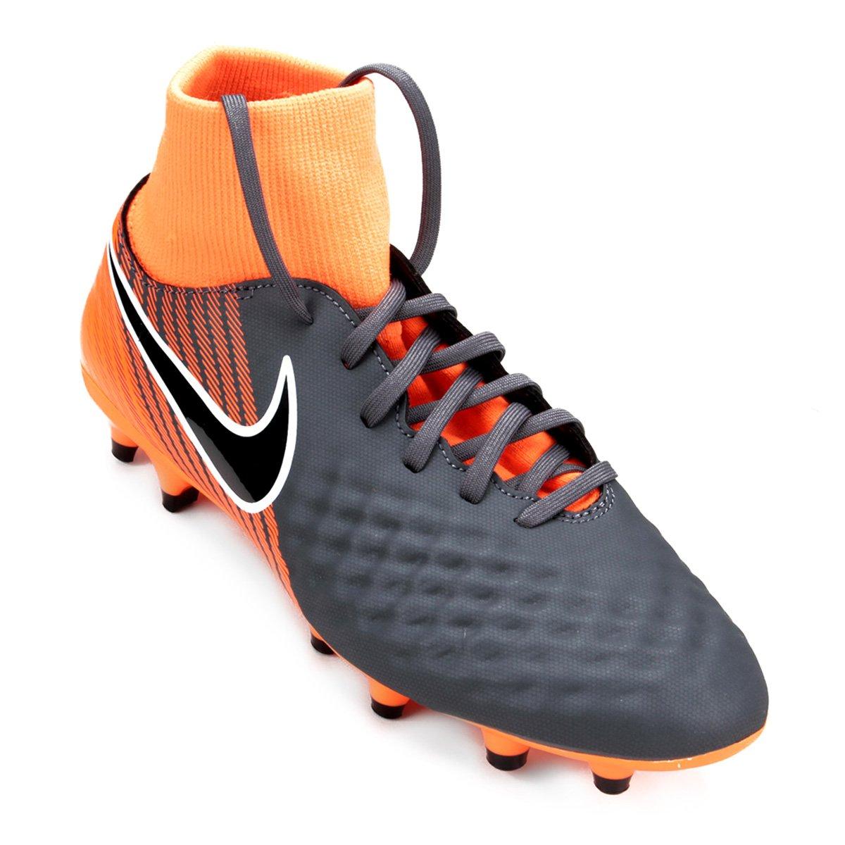 Chuteira Campo Nike Magista Obra 2 Academy DF FG - Cinza e Preto ... 58e96e972a9b8