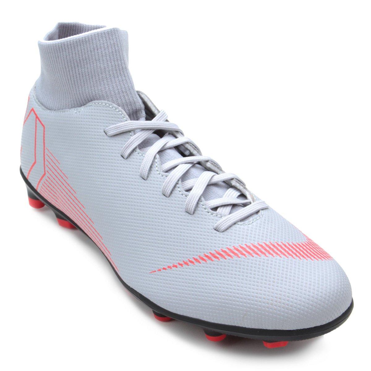 Chuteira Campo Nike Mercurial Superfly 6 Club - Cinza e Preto ... 13deb87e0499c