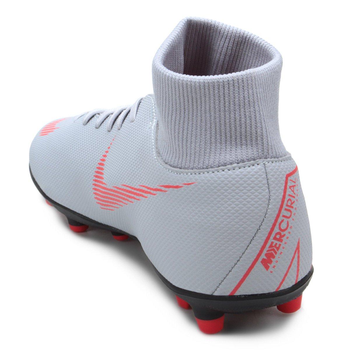 Chuteira Campo Nike Mercurial Superfly 6 Club - Cinza e Preto ... bd74543e1546e