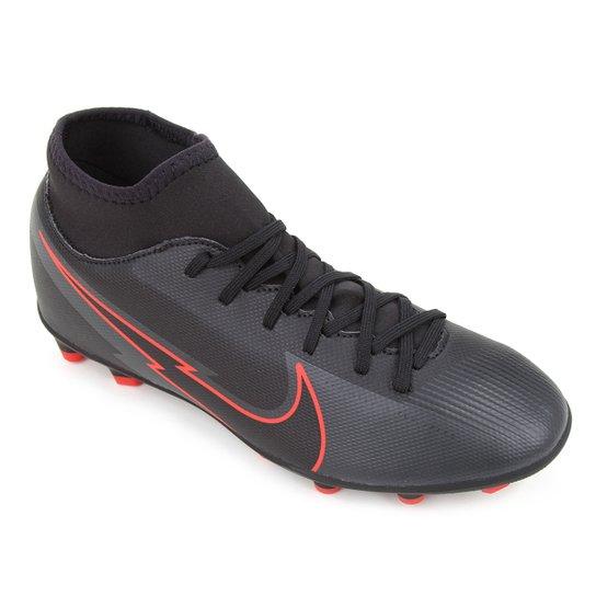 Chuteira Campo Nike Mercurial Superfly 7 Club FG - Preto+Chumbo