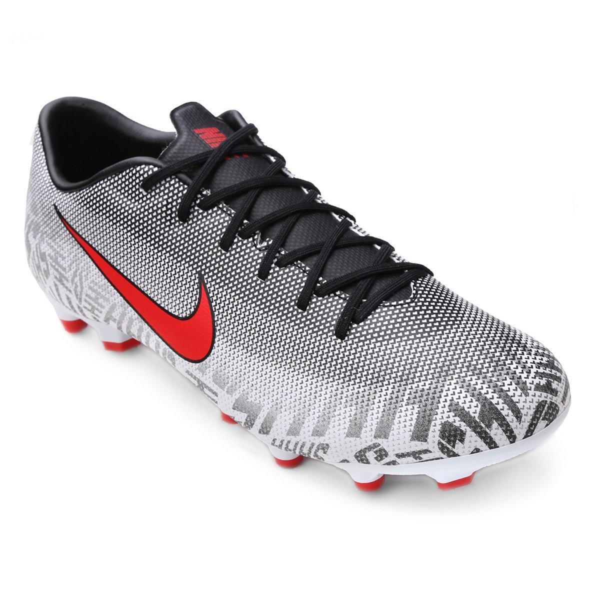 ed2fee9cb0 Chuteira Campo Nike Mercurial Vapor 12 Academy Neymar Jr FG - Branco e  Vermelho
