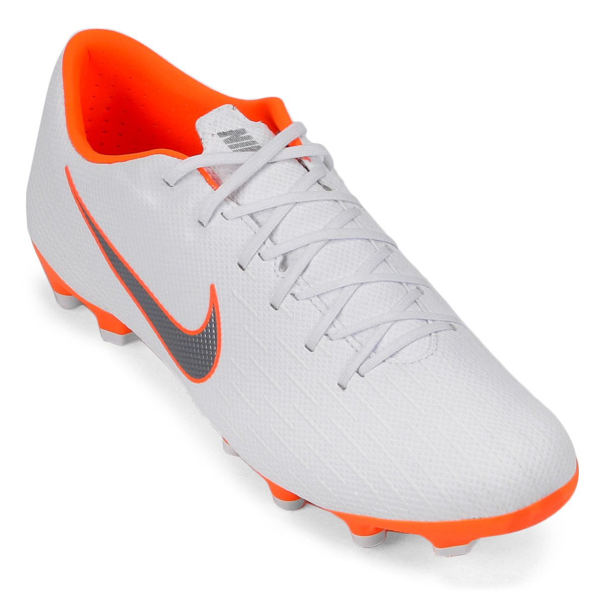 Chuteira Campo Nike Mercurial Vapor 12 Academy - Branco e Cinza ... ff15630b75b5b