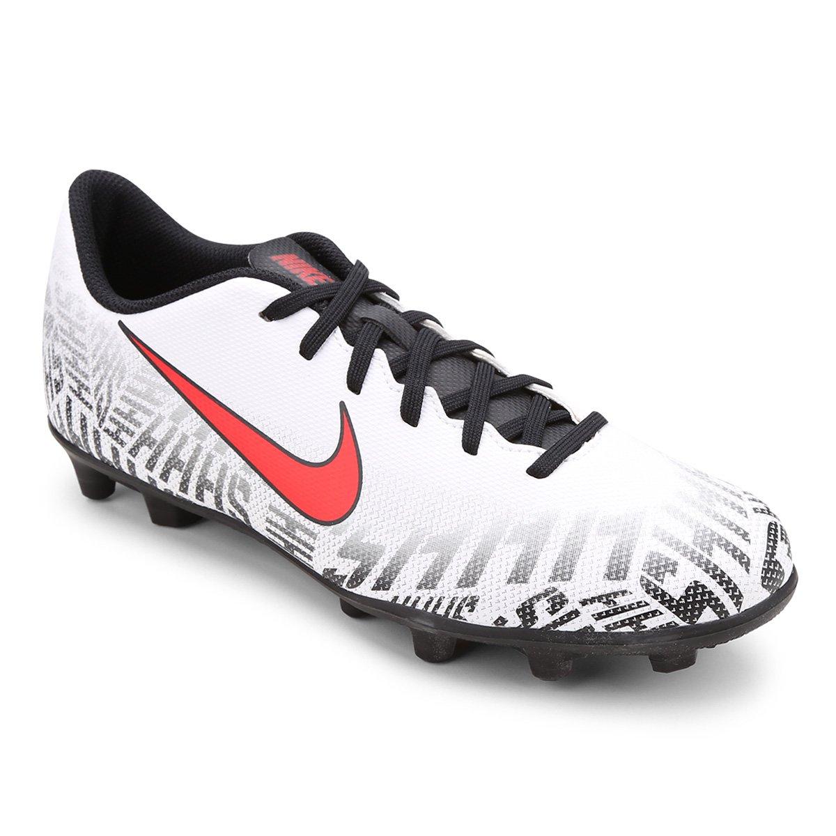 fa1eb10b3b Chuteira Campo Nike Mercurial Vapor 12 Club Neymar Jr FG - Branco e  Vermelho