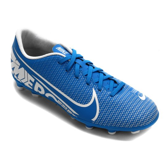 Chuteira Campo Nike Mercurial Vapor 13 Club FG - Azul+Branco