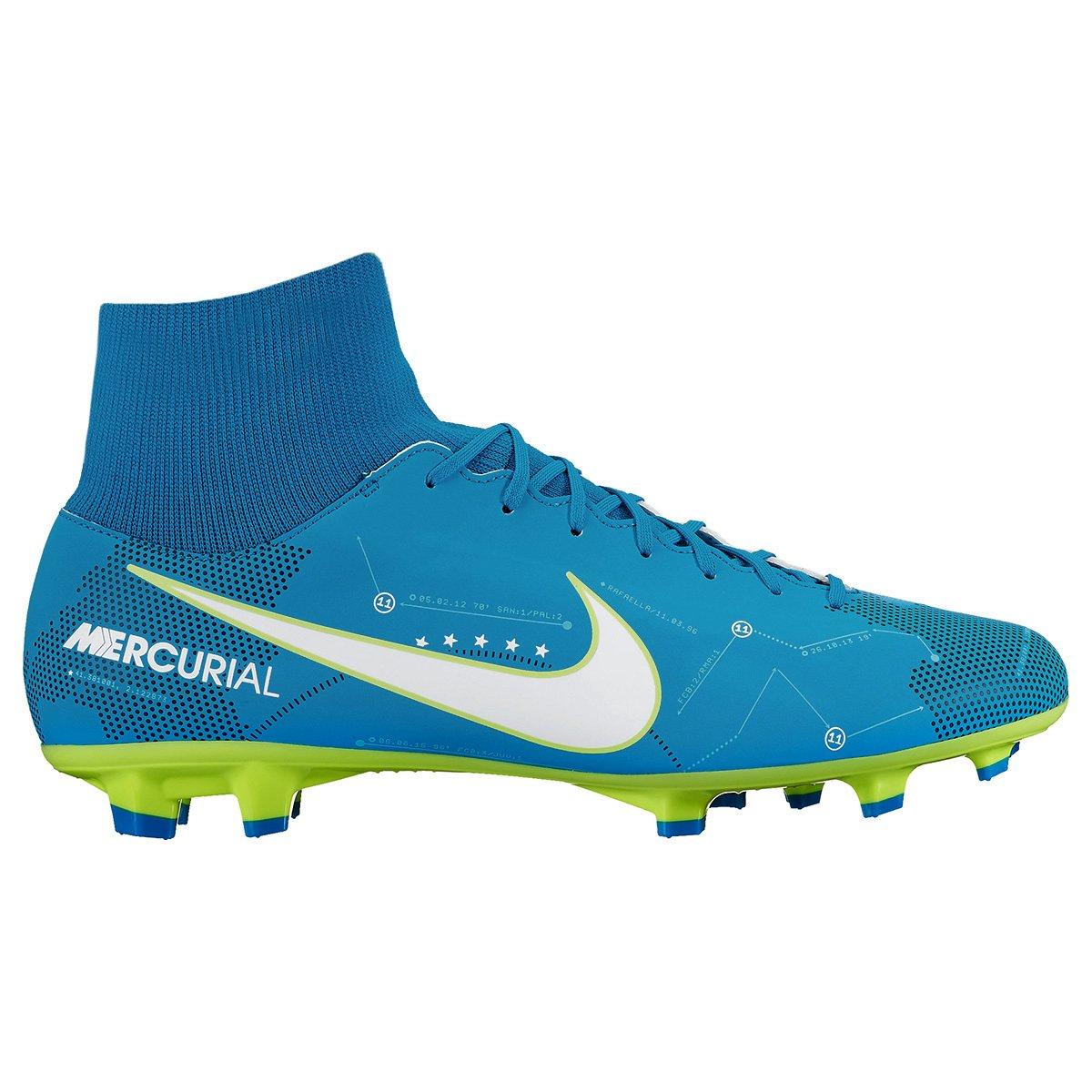 Chuteira Campo Nike Mercurial Victory 6 DF Neymar Jr FG - Azul+Branco e898cee1e453c