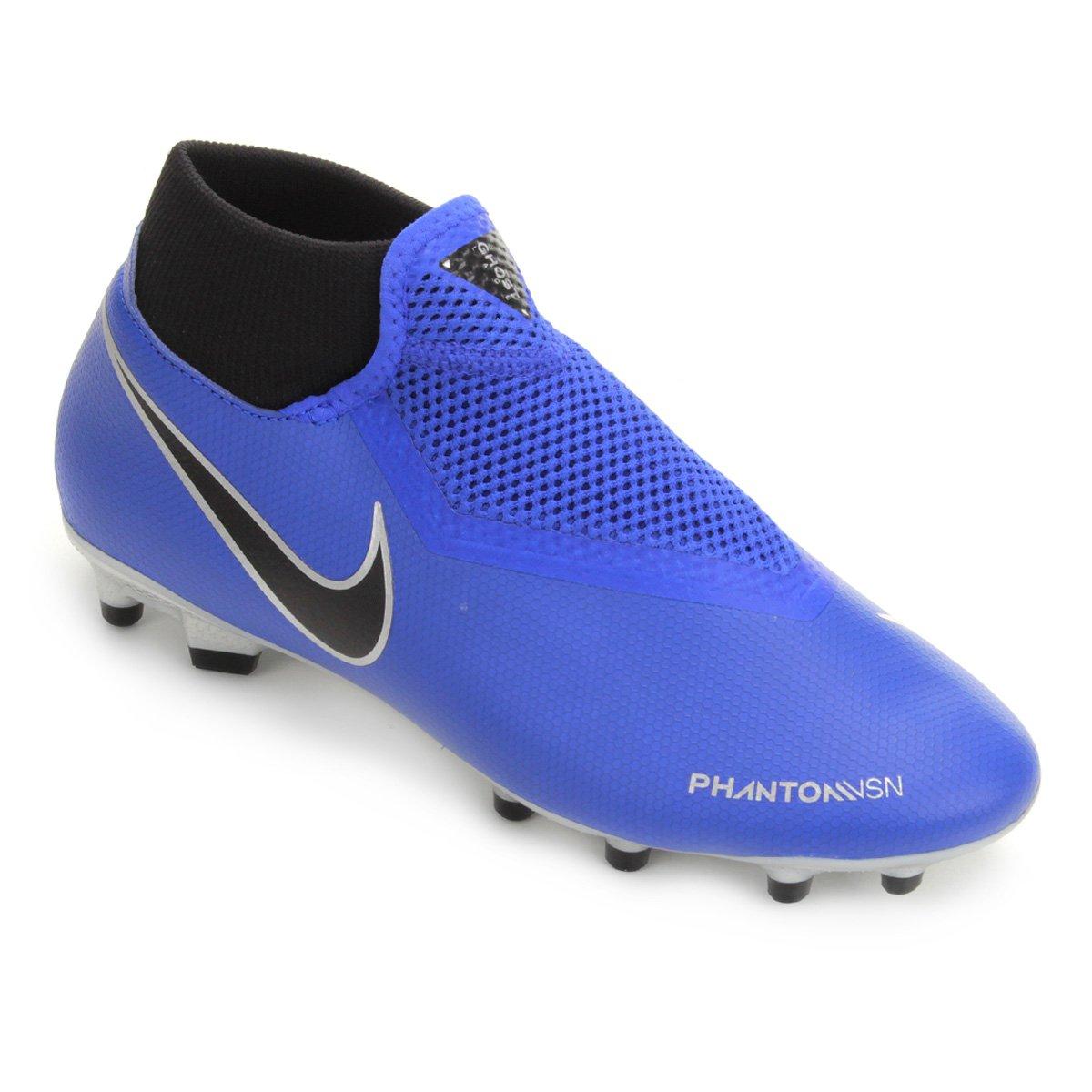 Chuteira Campo Nike Phantom Vision Academy DF FG - Azul e Preto ... bc048599d19bd