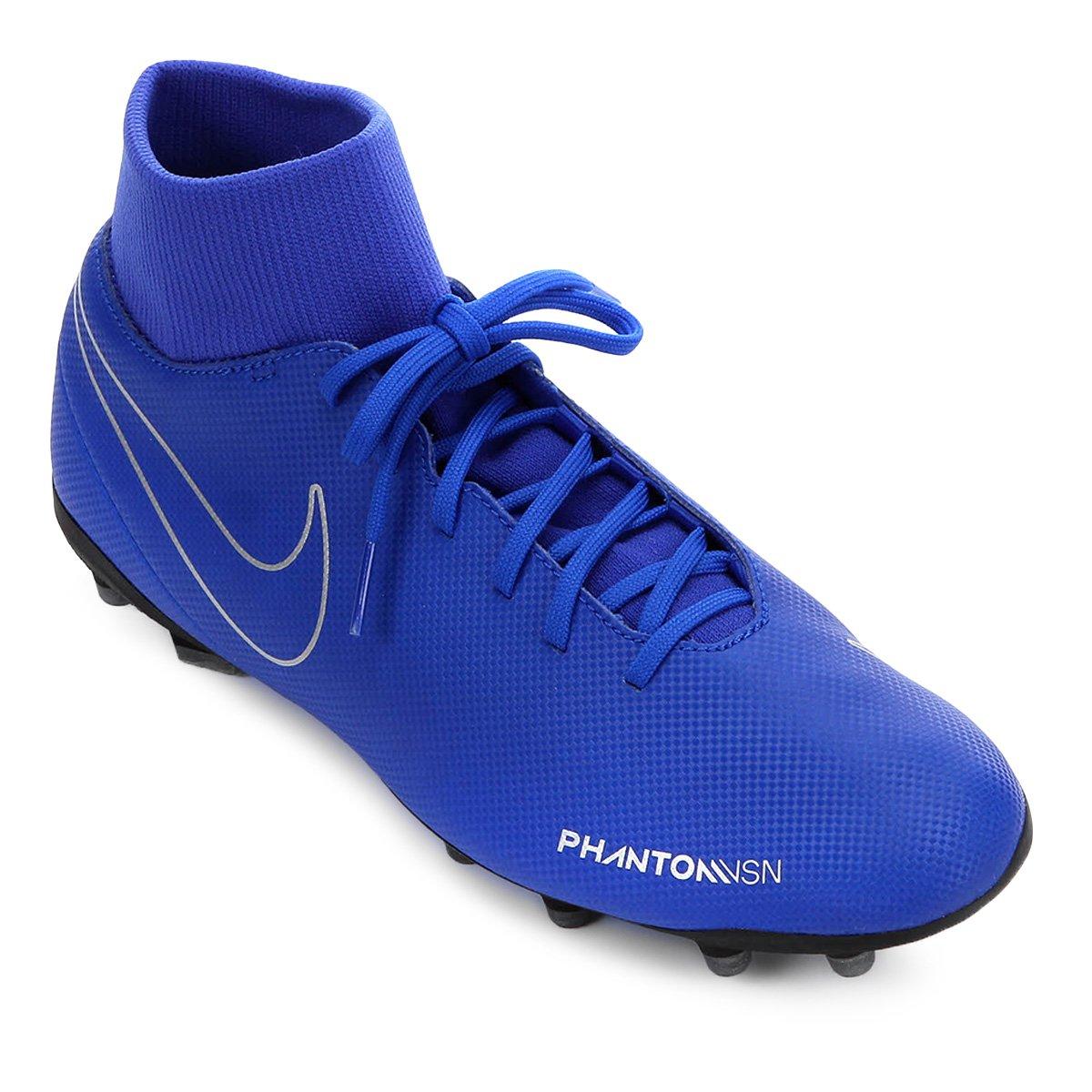 8dadccfc84 Chuteira Campo Nike Phantom Vision Club FG - Azul e Preto