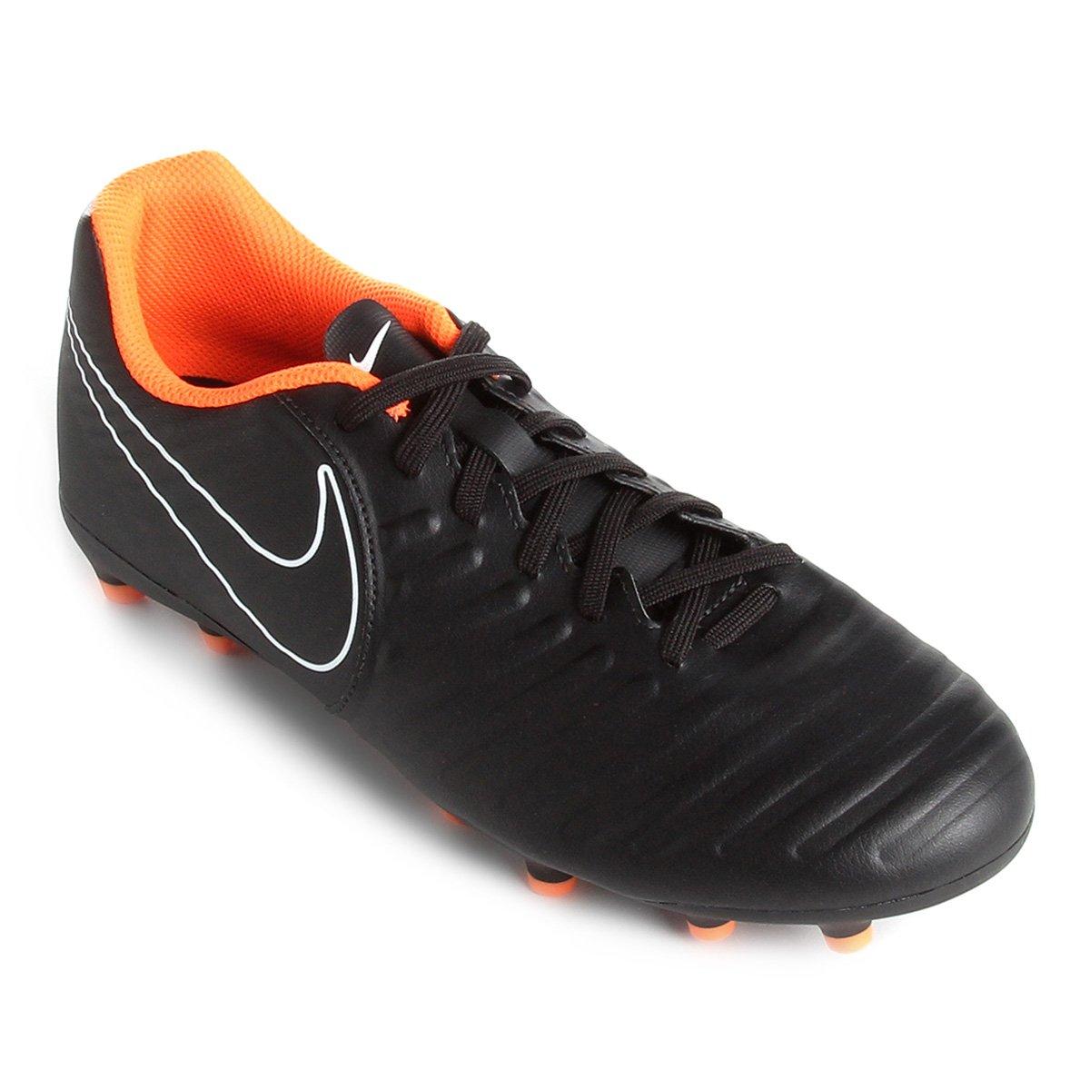 Chuteira Campo Nike Tiempo Legend 7 Club FG - Preto e Laranja - Compre  Agora  a6d09c9524428