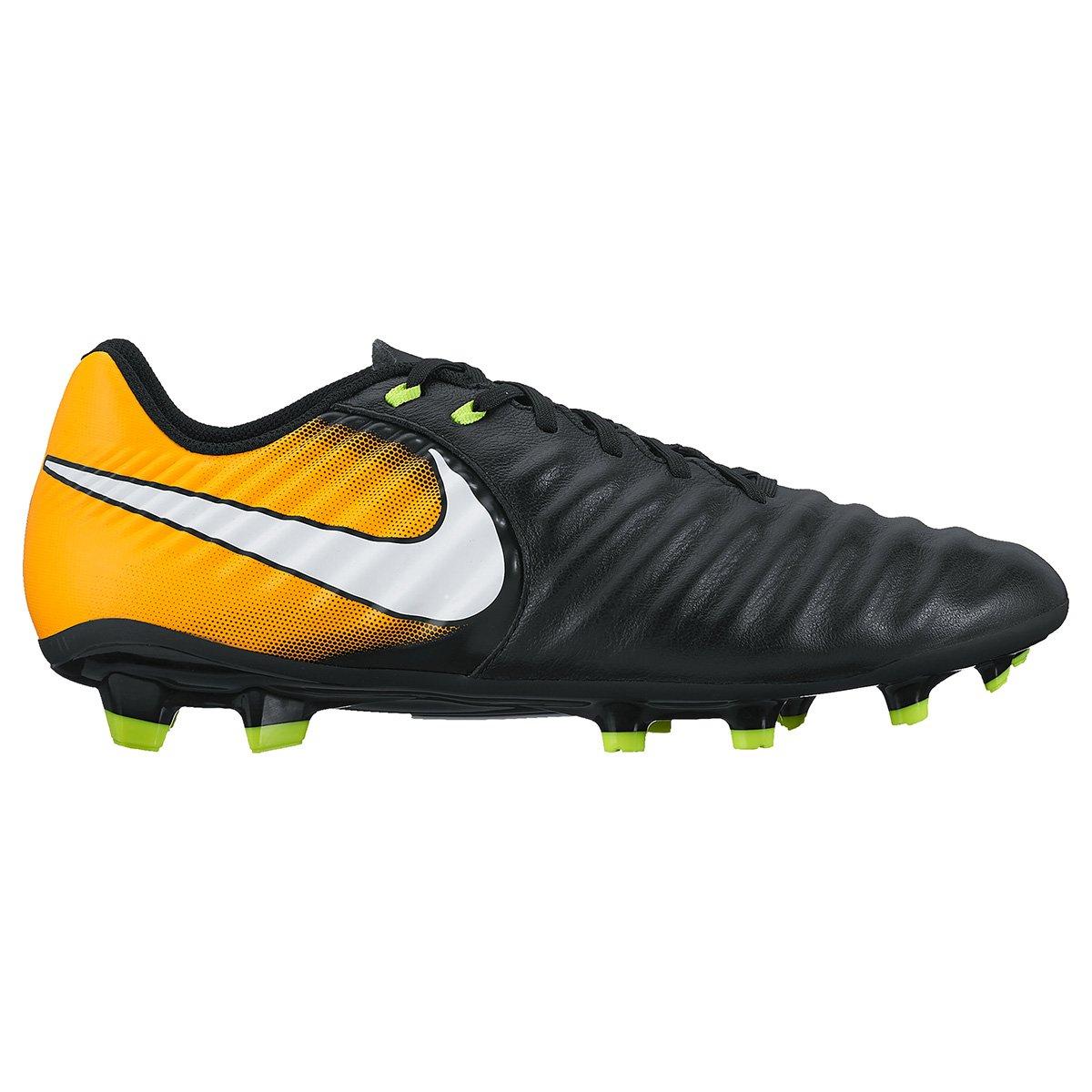 e5772273a1 Chuteira Campo Nike Tiempo Ligera 4 FG - Preto e Laranja - Compre Agora