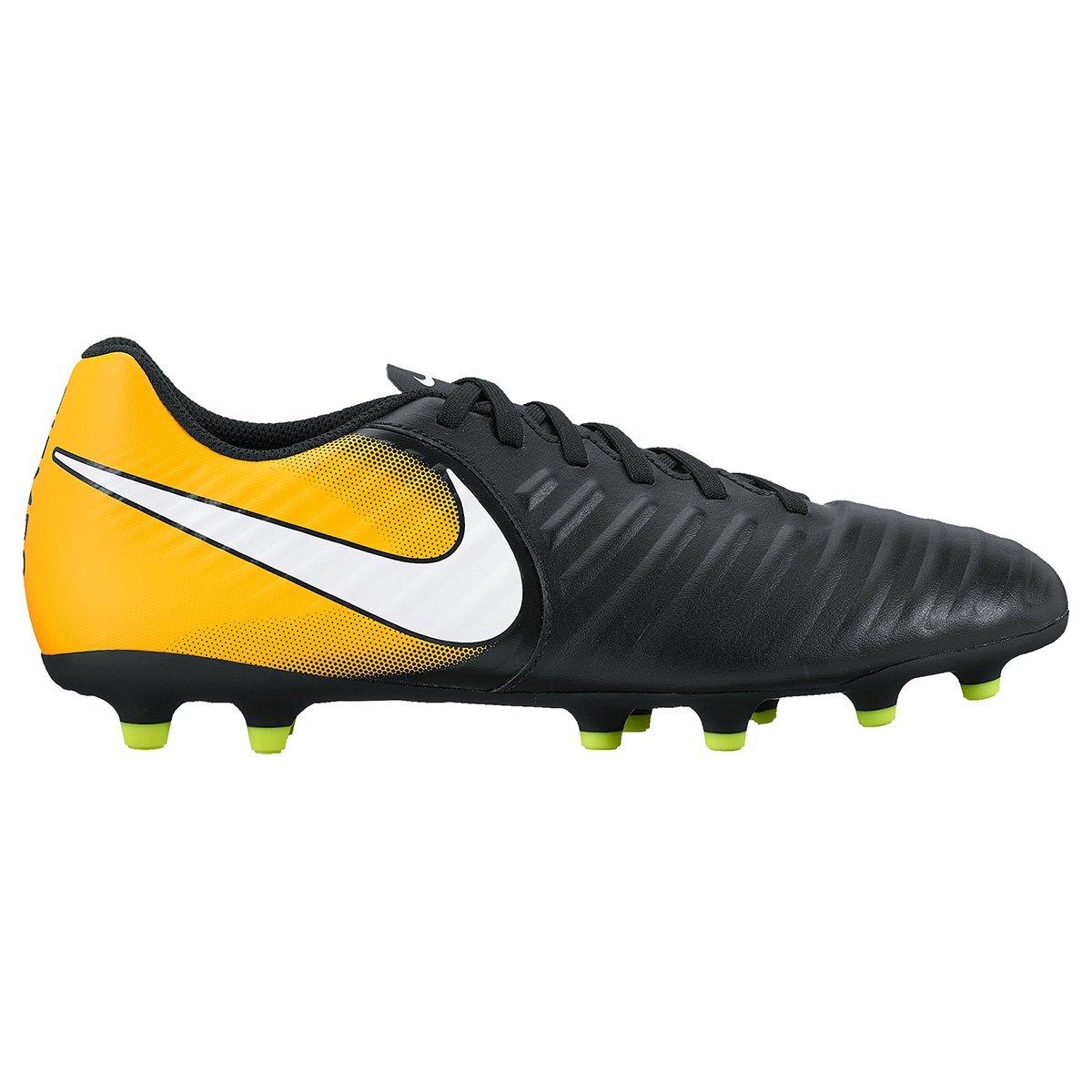 9622f61094 Chuteira Campo Nike Tiempo Rio 4 FG - Preto e Laranja - Compre Agora ...