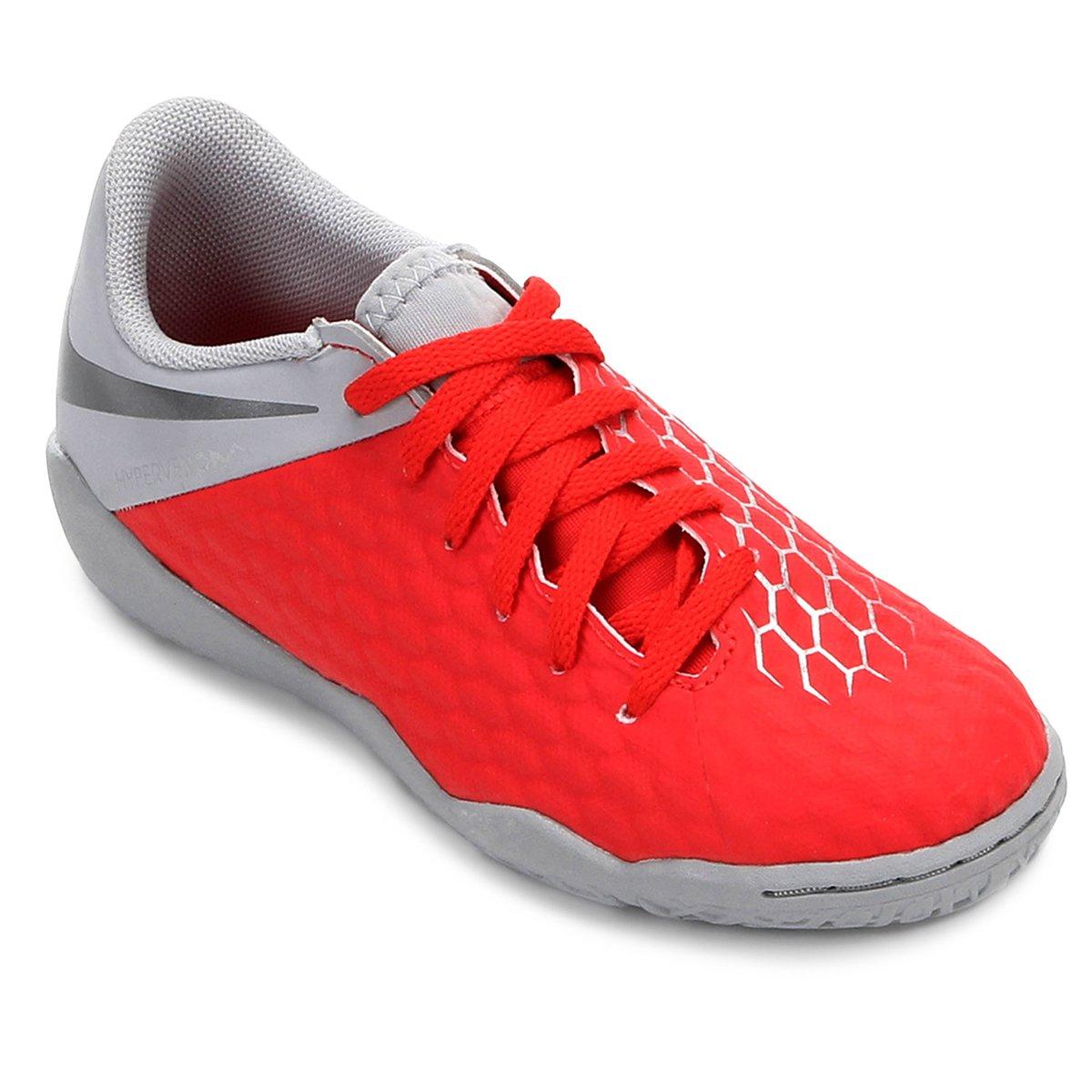 5707213c983 Chuteira Futsal Infantil Nike Hypervenom Phantom 3 Academy IC - Vermelho e  Cinza - Compre Agora