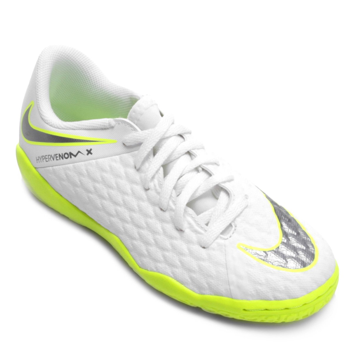 58fbe56d914ef Chuteira Futsal Infantil Nike Hypervenom Phantom 3 Academy IC - Branco e  Cinza | Shop Timão