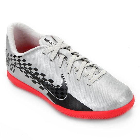 Chuteira Futsal Juvenil Nike Mercurial Vapor 13 Club Neymar Jr IC - Preto+Vermelho