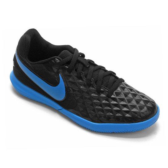Chuteira Futsal Juvenil Nike Tiempo Legend 8 Club - Preto+Azul