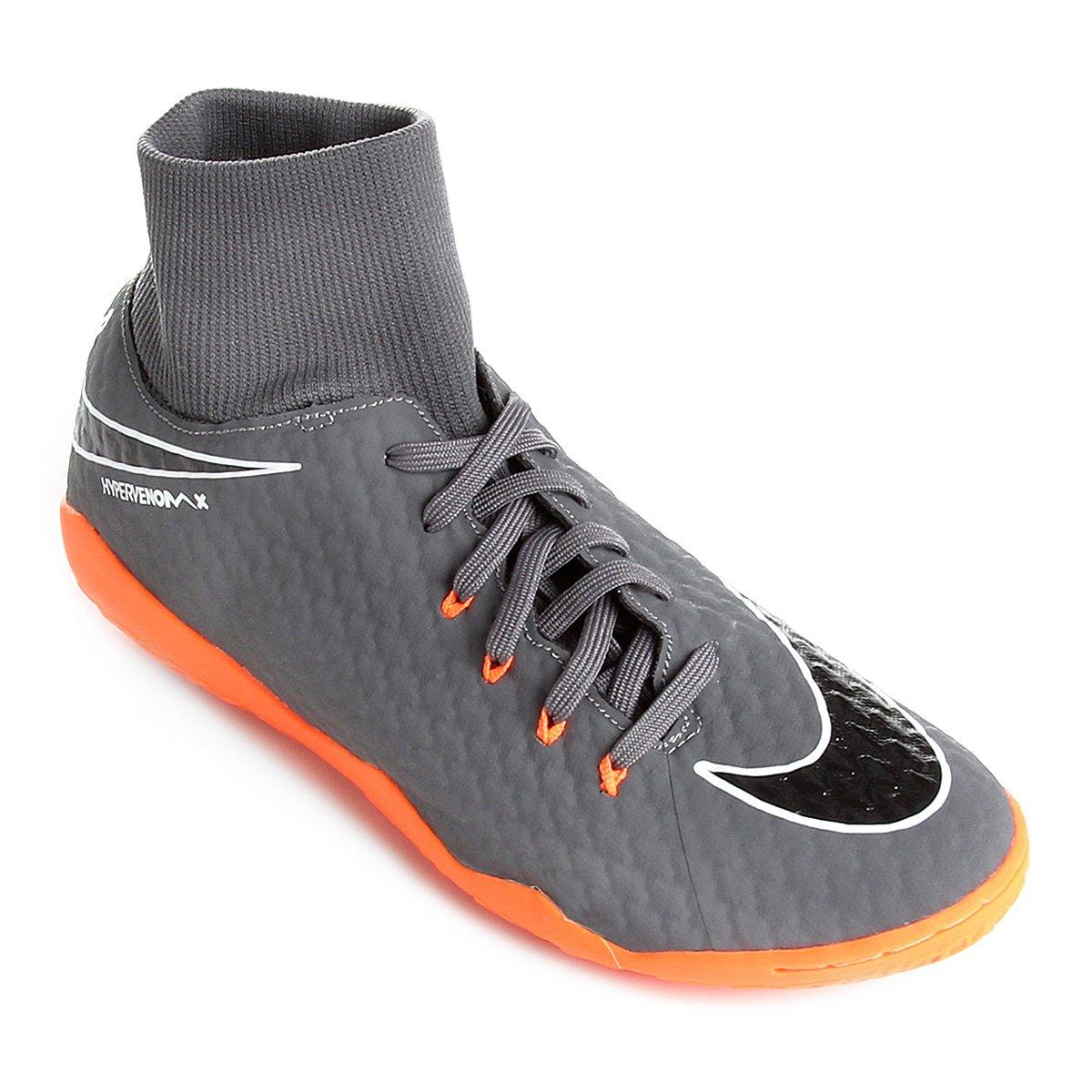 8b36c8051d270 Chuteira Futsal Nike Hypervenom Phantom 3 Academy DF IC - Cinza e Laranja |  Shop Timão