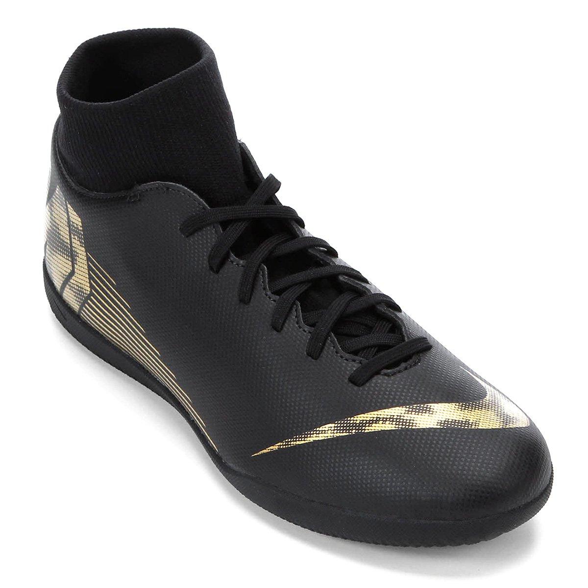 e0357288e3 Chuteira Futsal Nike Mercurial Superfly 6 Club - Preto e Dourado ...