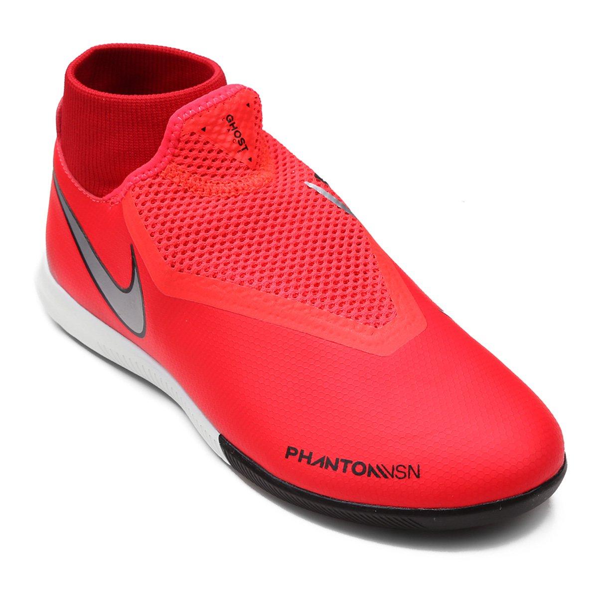0c5c8fac96 Chuteira Futsal Nike Phantom Vision Academy DF IC - Vermelho e Prata ...