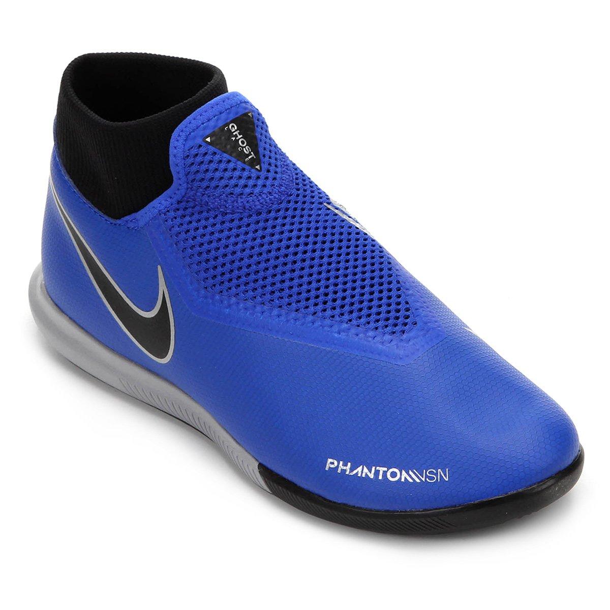 Chuteira Futsal Nike Phantom Vision Academy DF IC - Azul e Preto ... 5694be359c304
