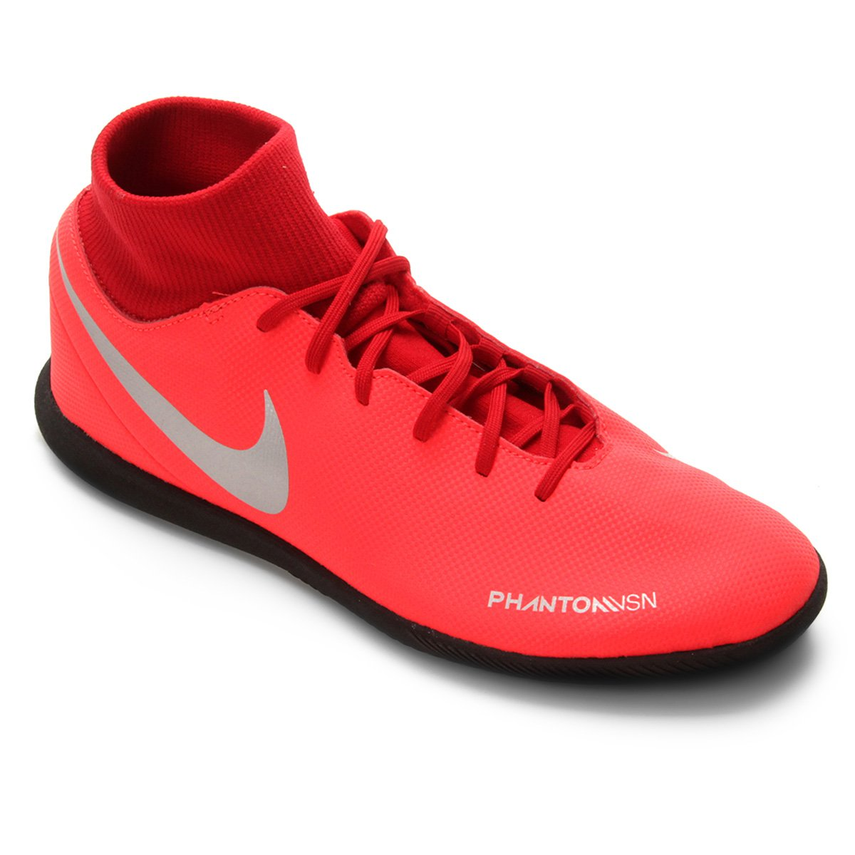 6a9373f3a8 Chuteira Futsal Nike Phantom Vision Club DF IC - Vermelho e Prata ...
